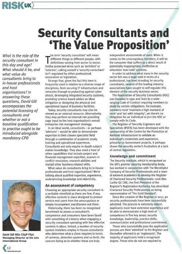 Security Consultants and The Value Proposition