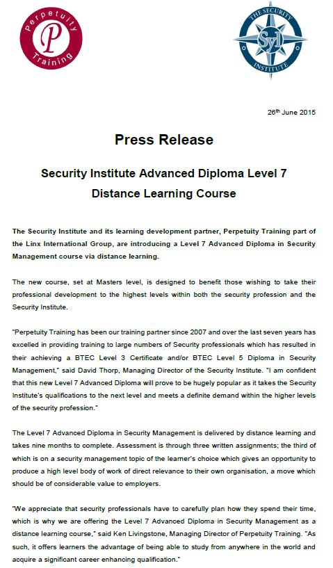 Security Institute Advanced Diploma Level 7 Distance Learning Course Press Release